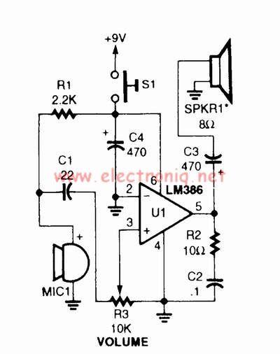 > circuits > LM386 voice audio power amplifier circuit