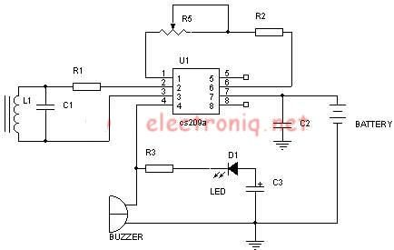 Metal detector schematic circuit using CS209A under