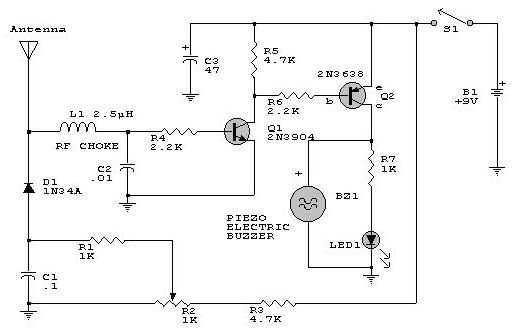 1000 Watts Amplifier Circuit Diagrams Rf Detector Electronic Project Circuit Design Using 2n2222