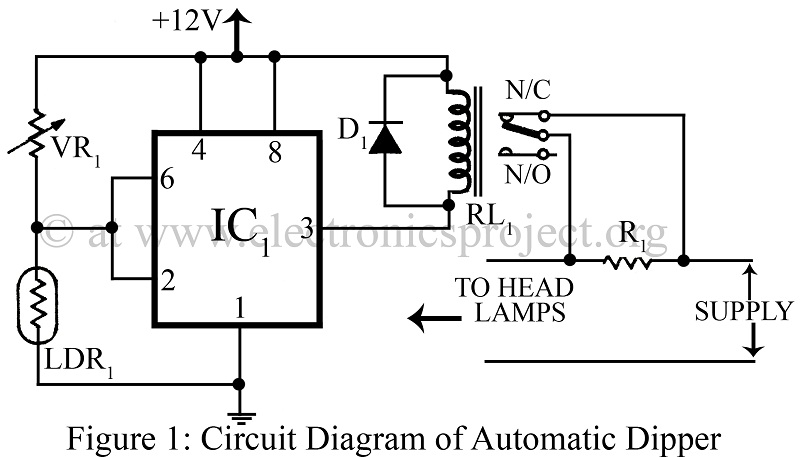 > circuits > Automatic Dipper for Vehicles using NE555