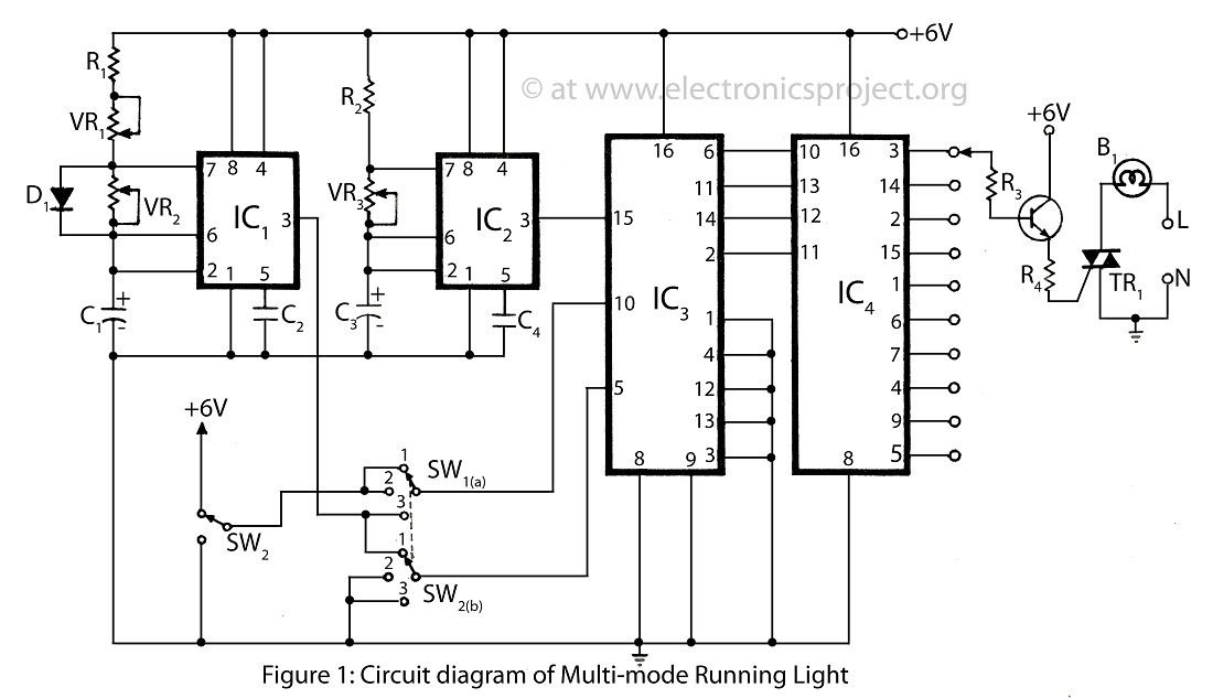 > circuits > Multi Mode Running light with description