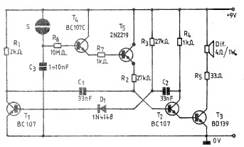Simple Electronic bell circuit using transistors under
