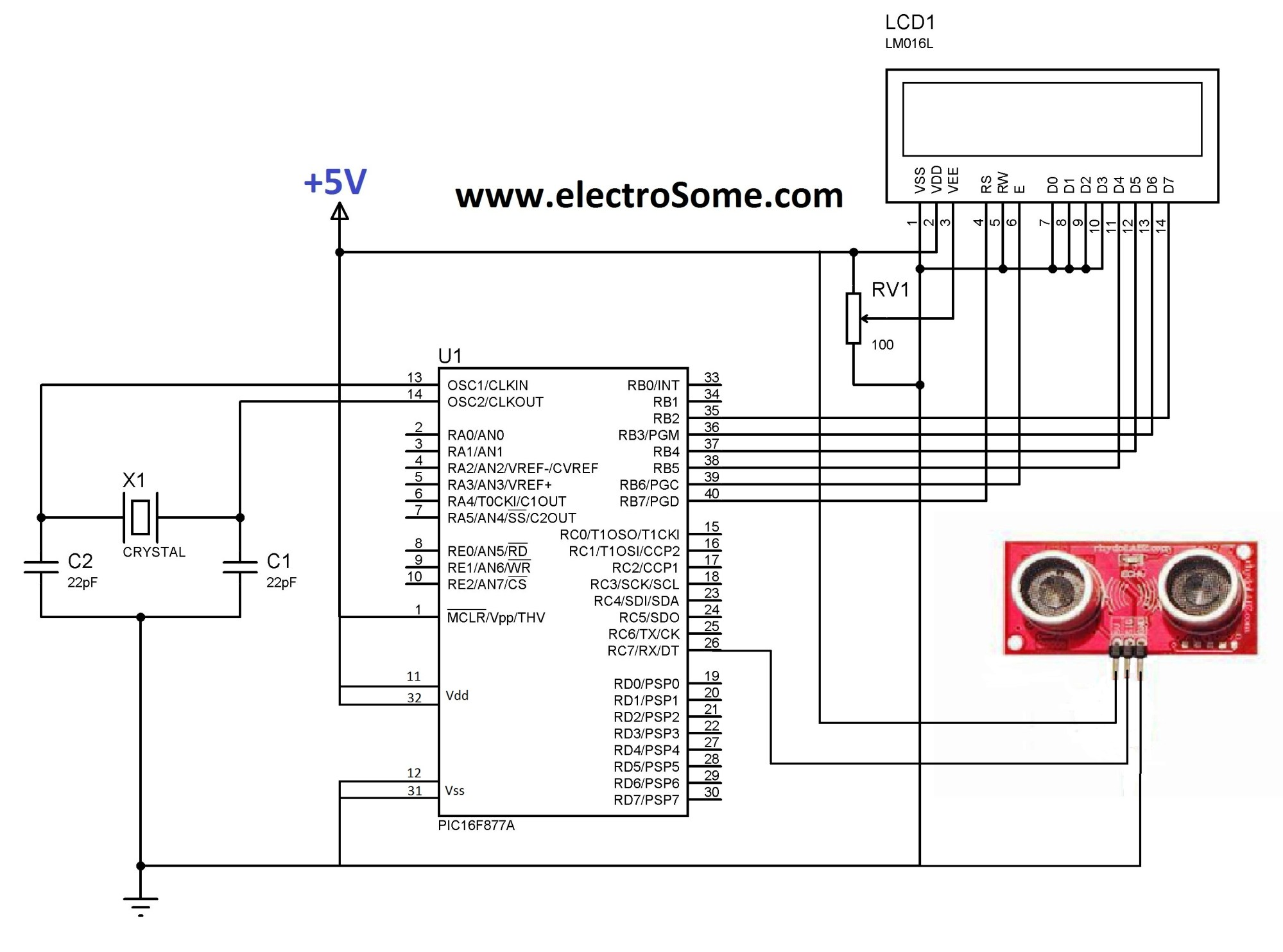 hight resolution of interfacing ultrasonic distance sensor ascii pic microcontroller