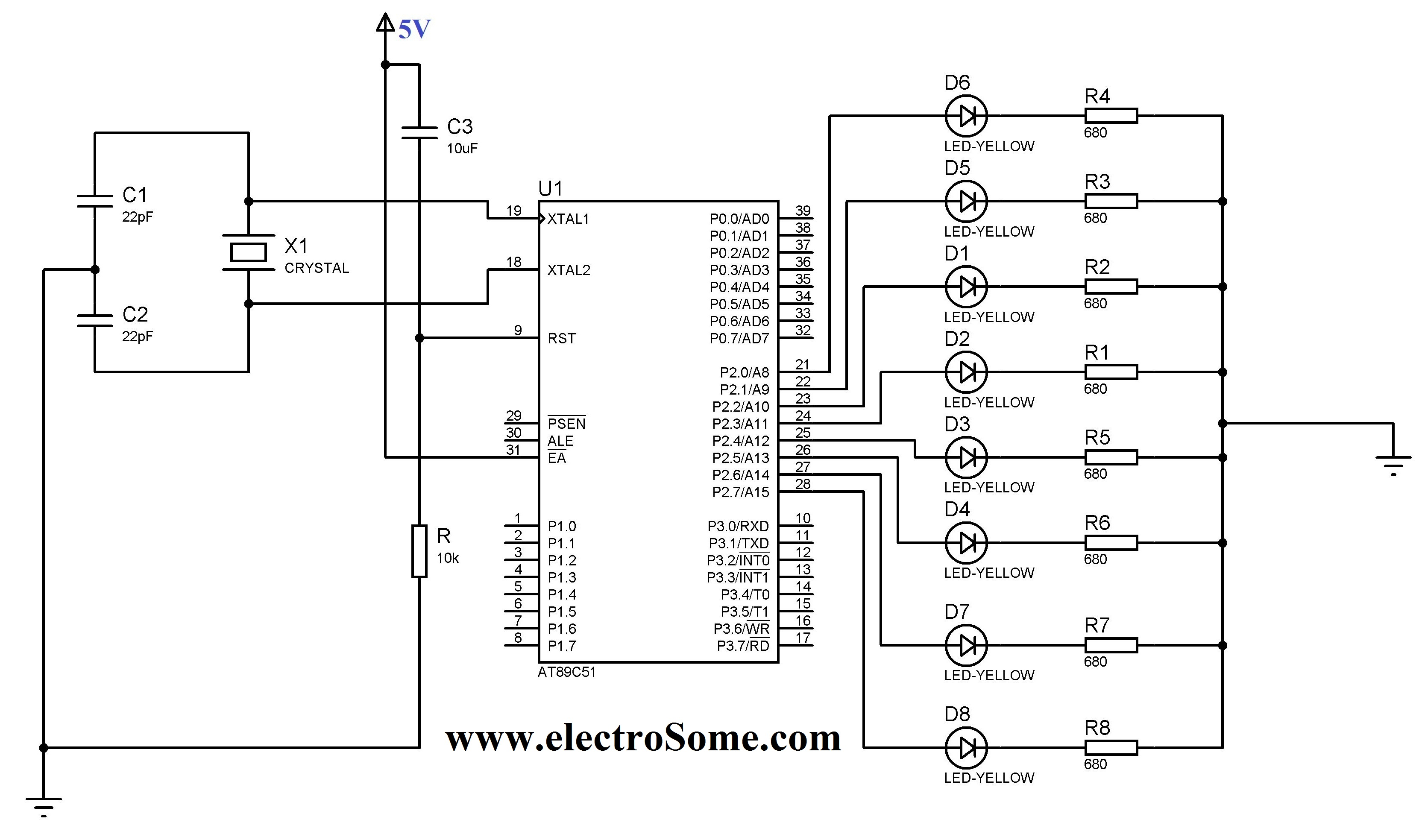 led blinking 8051 microcontroller keil c tutorial at89c51