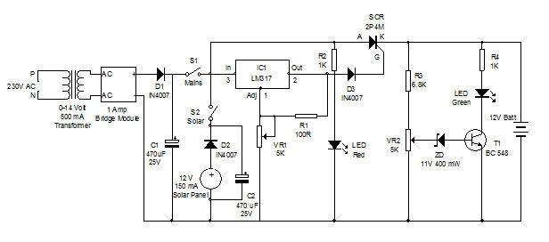 dual battery charger circuit diagram