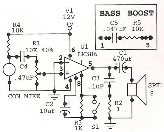 condenser microphone circuit lm386