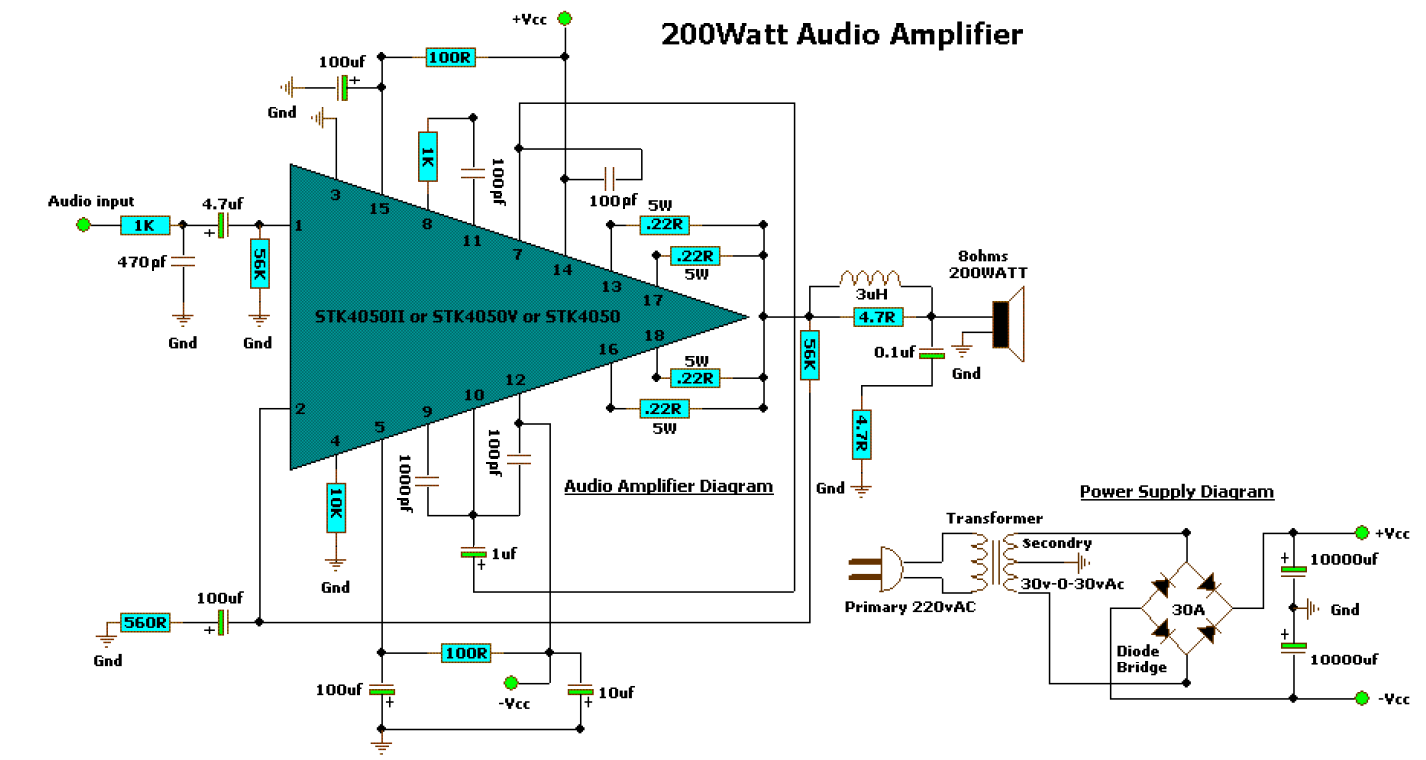 hight resolution of 200 watt audio amplifier
