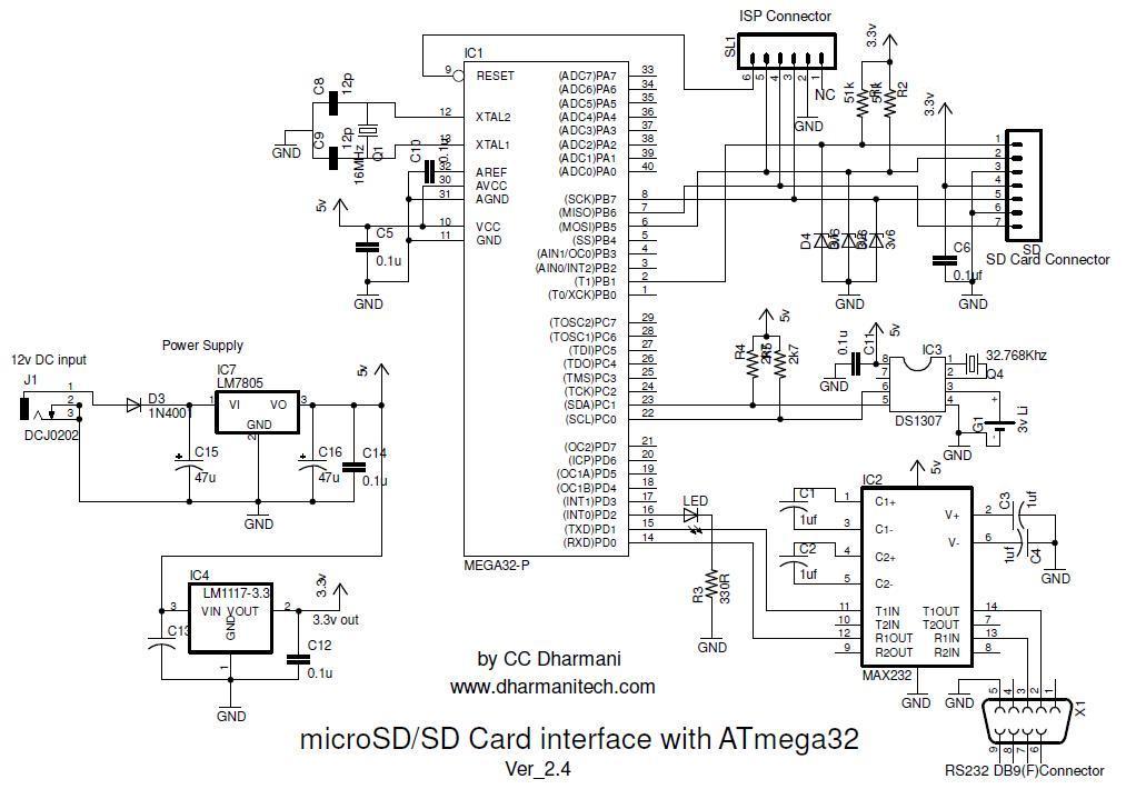 > circuits > SD SDHC Card Interfacing with ATmega8 32