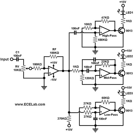 Audio Simple Sound-to-Light Converter Schematic Diagram