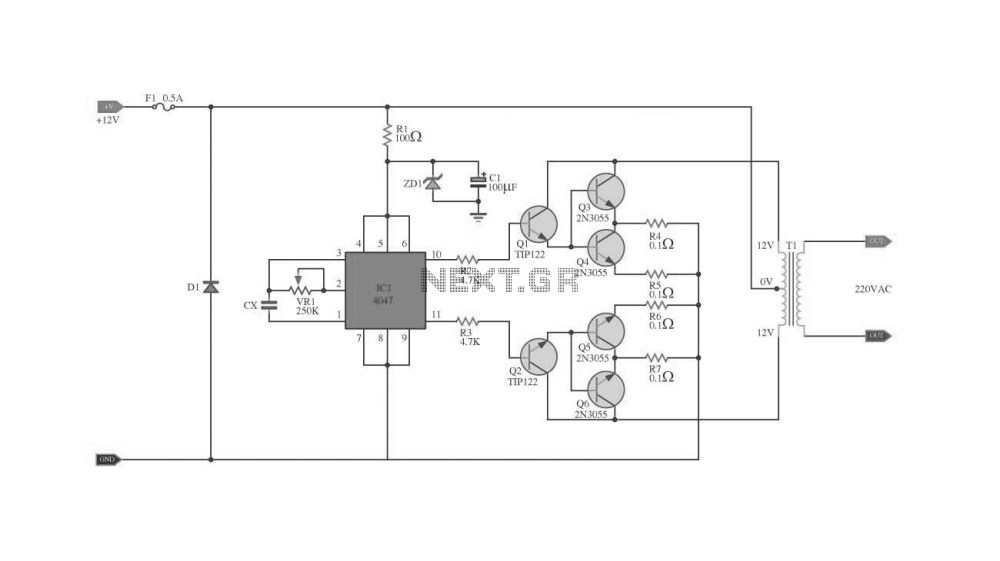 medium resolution of ic 4047 2n3055 with pcb inverter 100w