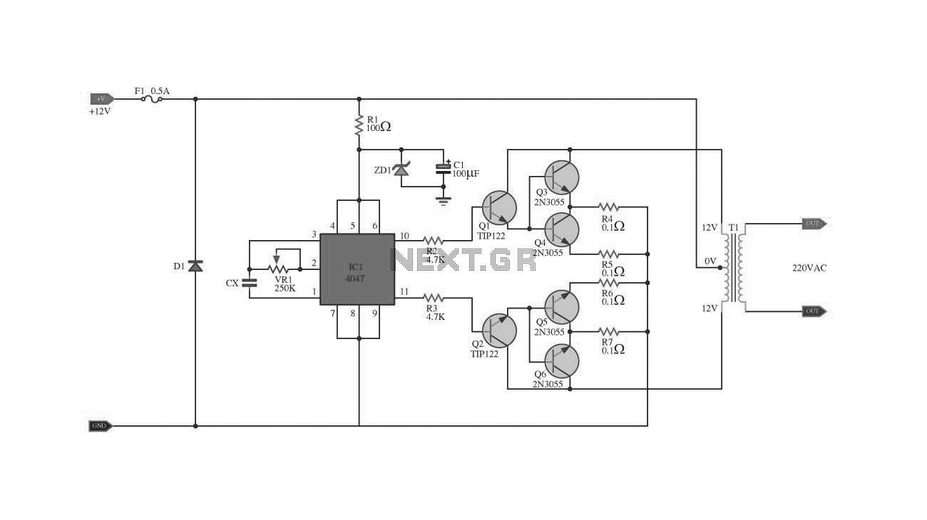 hight resolution of ic 4047 2n3055 with pcb inverter 100w