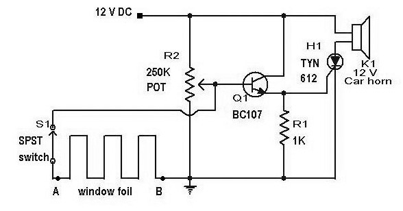 an scr based burglar alarm circuit diagram
