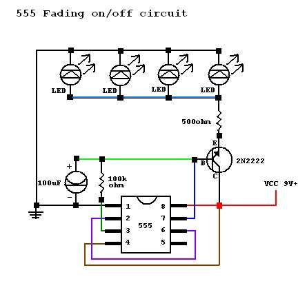 LEDs Fade In/Out Circuit Problem and LED Sequencer under