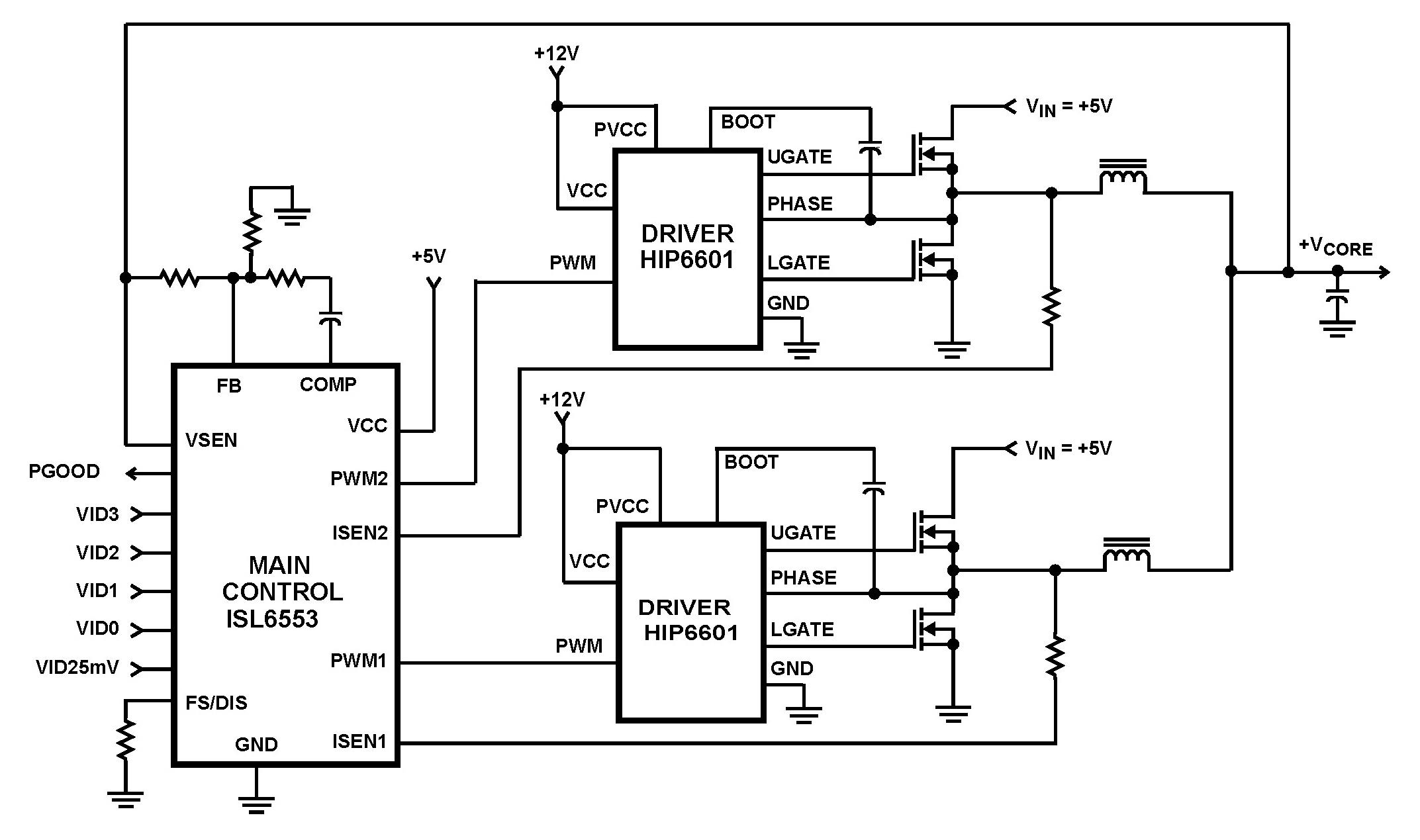 ISL6553 Microprocessor CORE Voltage Regulator 2 Phase Buck