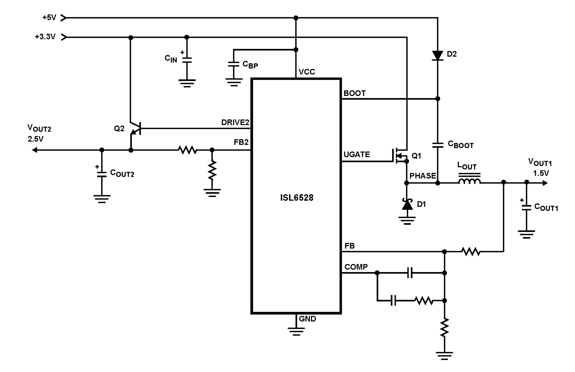 hight resolution of isl6528 dual regulator standard buck pwm and linear power controller
