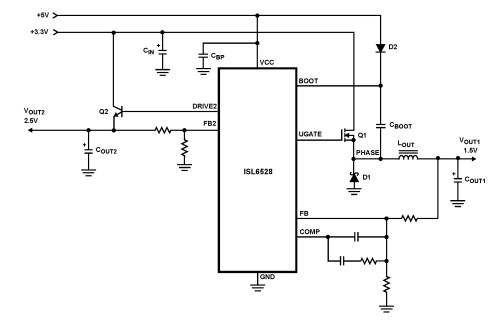 small resolution of isl6528 dual regulator standard buck pwm and linear power controller