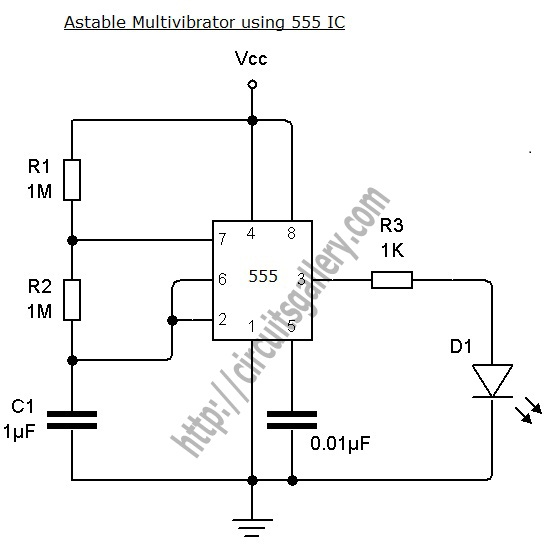 > circuits > Astable Multivibrator using NE 555 timer IC