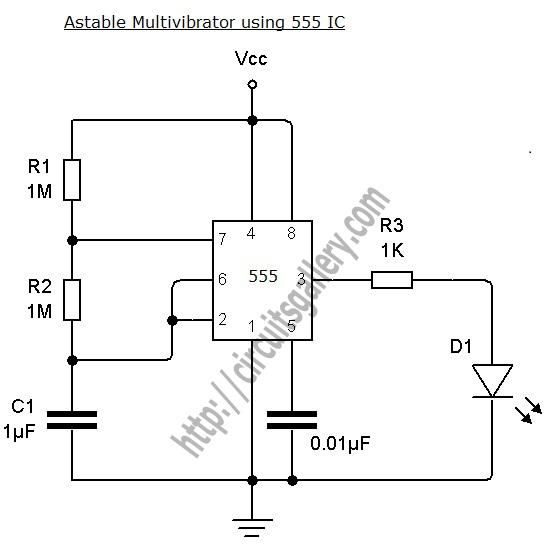 Astable Multivibrator using NE 555 timer IC under
