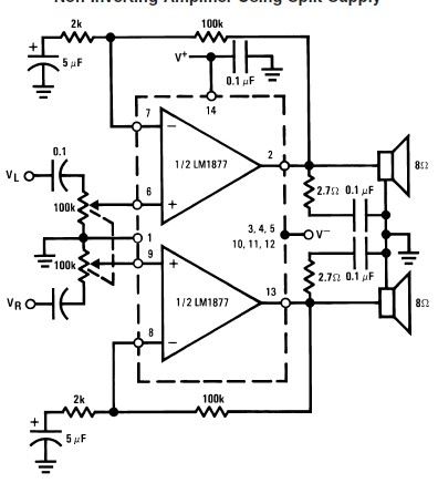Schematic Diagram LM1877 Audio power amplifier circuit