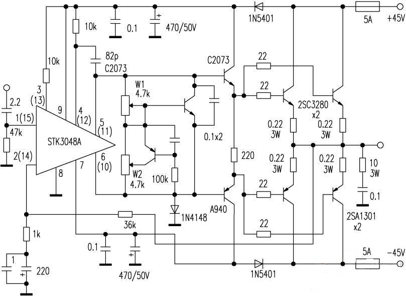 > circuits > power amplifier using stk3048a for driver