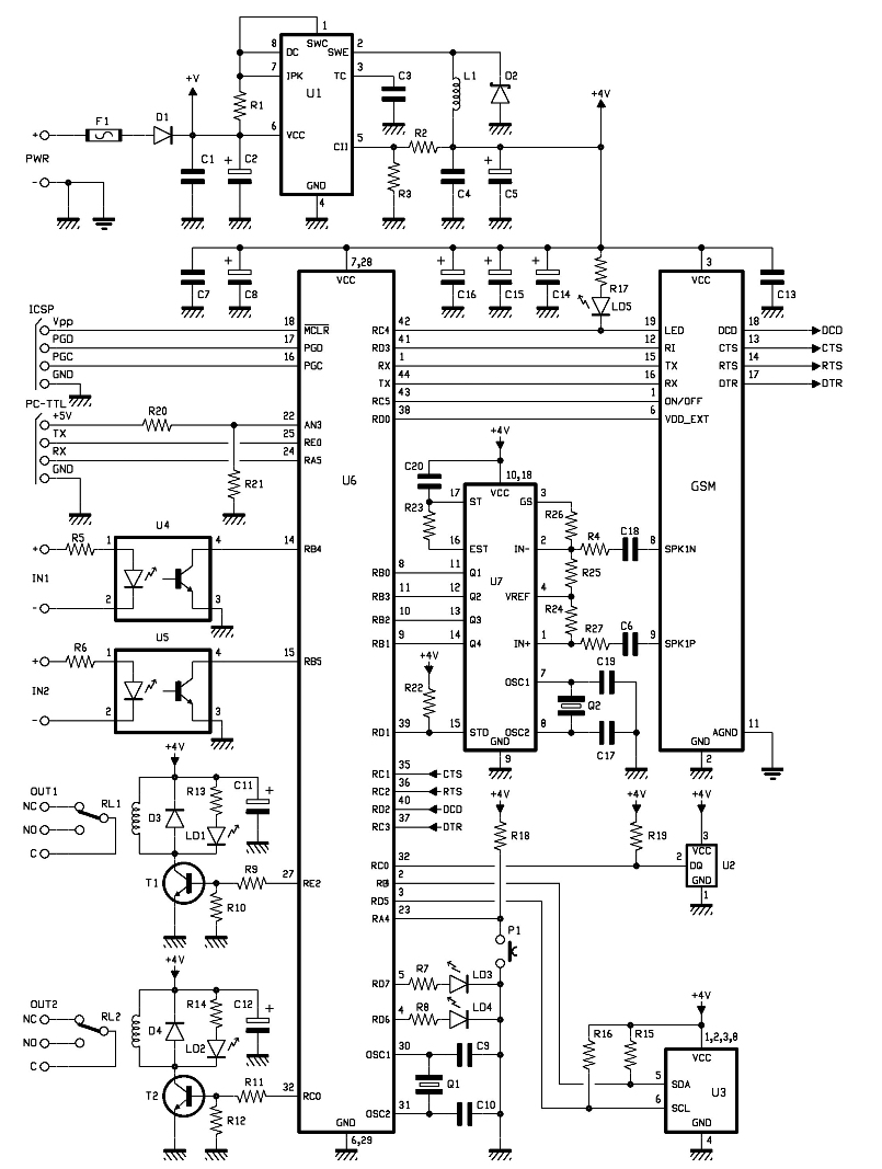 GSM Remote Control MotherBoard Schematic : Repository