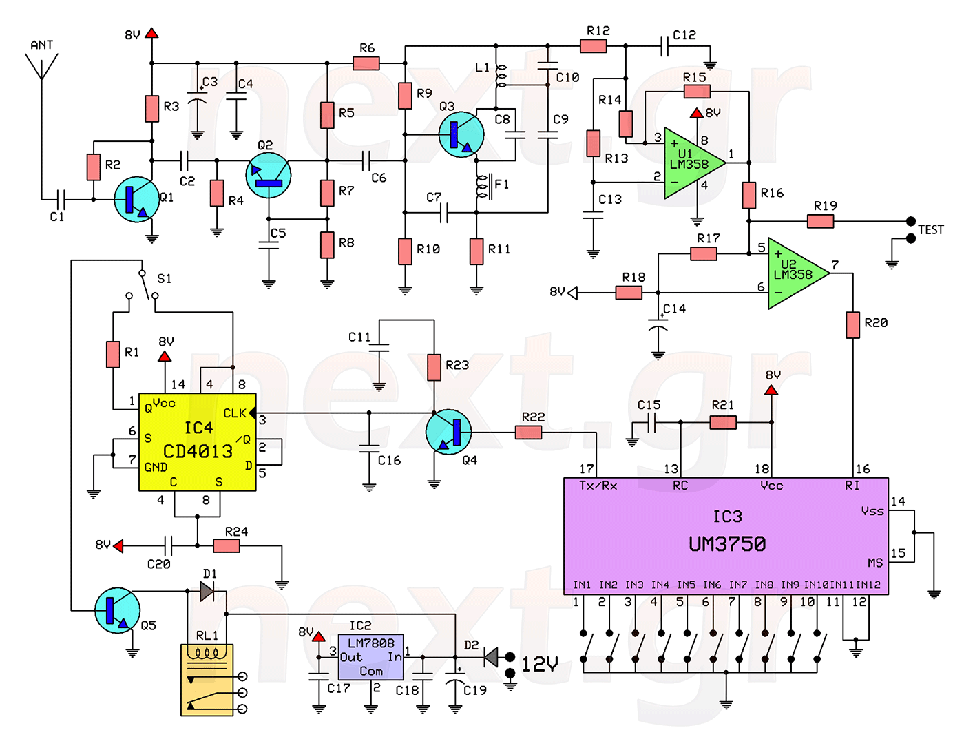 hight resolution of rf remote control switch rx tx circuits this circuit
