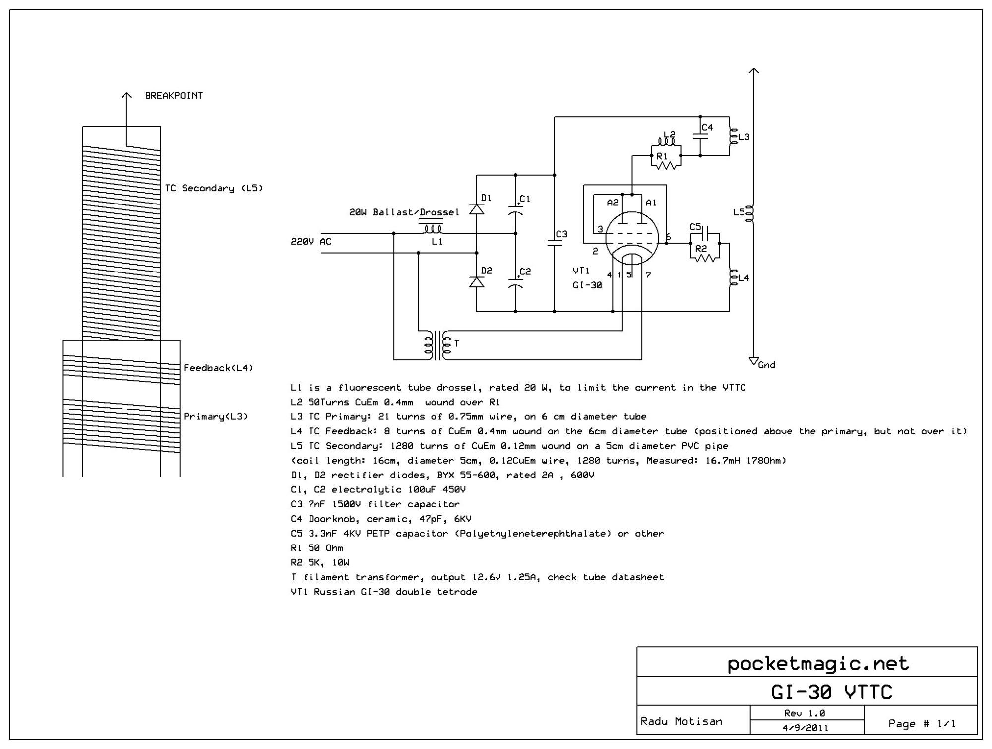 hight resolution of vacuum tube tesla coil vttc using russian gi 30