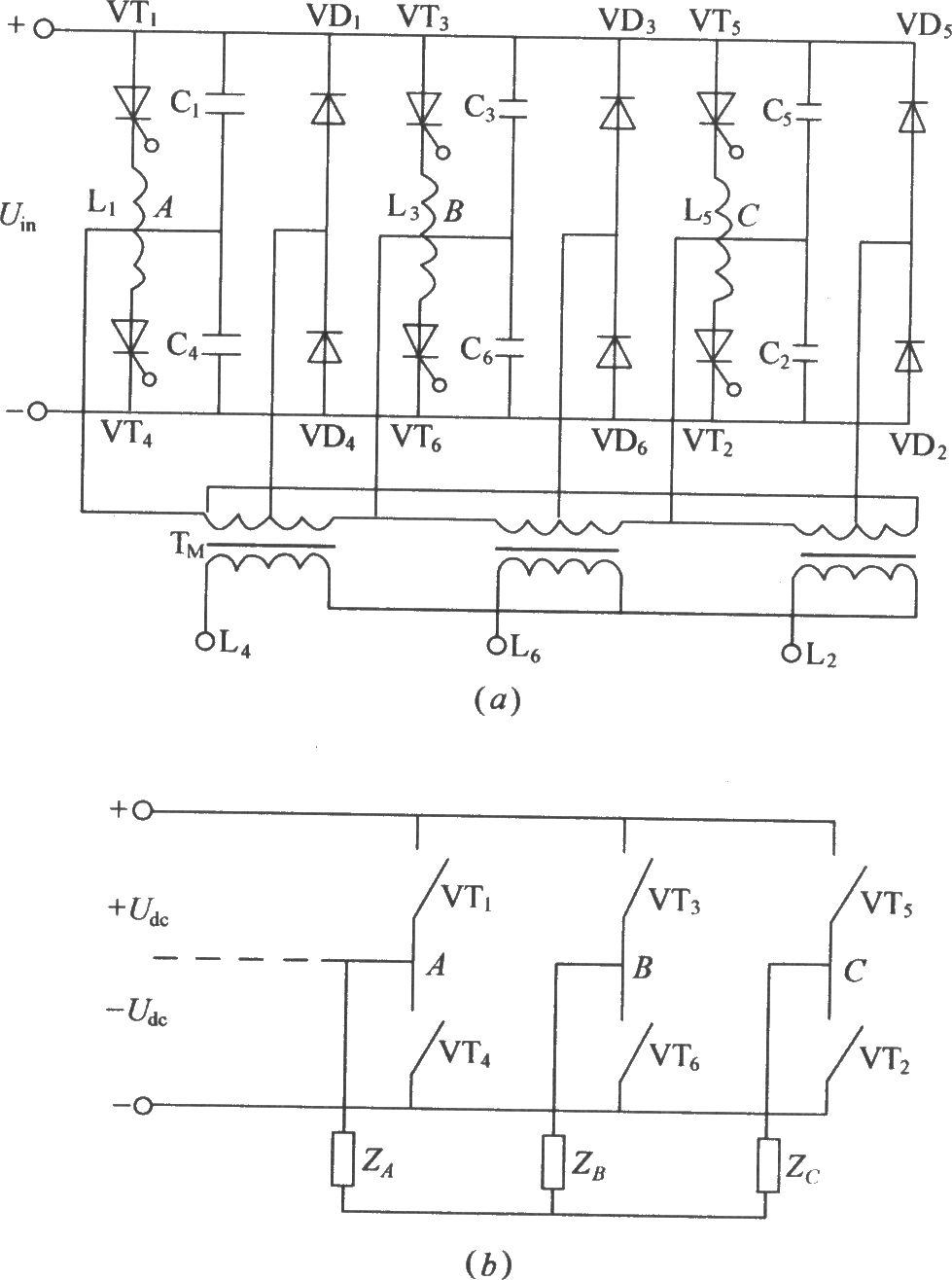 Three phase bridge type inverter circuit diagram under