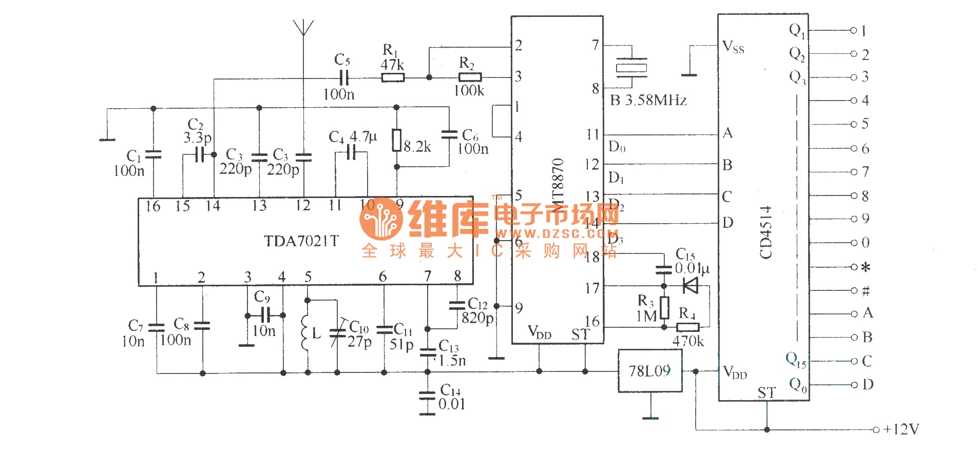 dtmf decoder ic mt8870 pin diagram ribu1c relay wiring code 16 channels remote control circuit