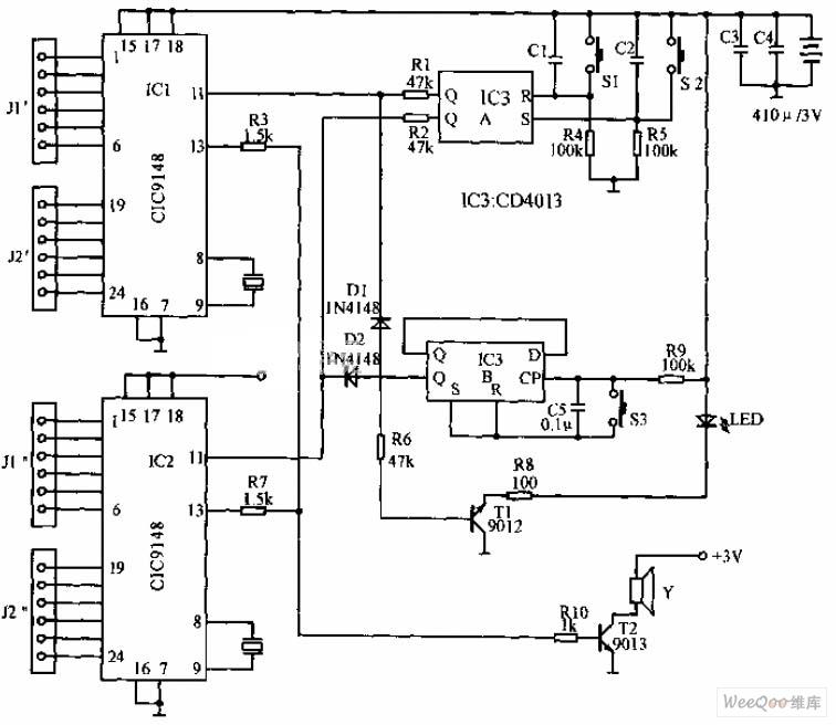 Portable DTMF electronics dialer circuit diagram