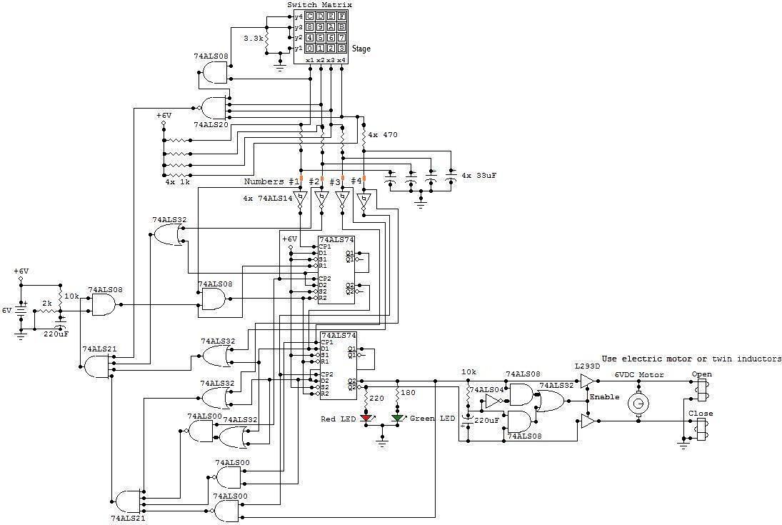 simple combination lock circuit schematic