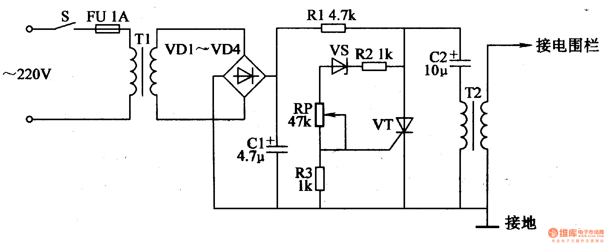 electric fence circuit diagram diy 24 f hp charger schematic