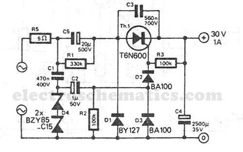 > circuits > Transformerless Power Supply 30V 1A l51776