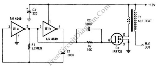 > circuits > Simple low power Inverter Circuit 12V DC to