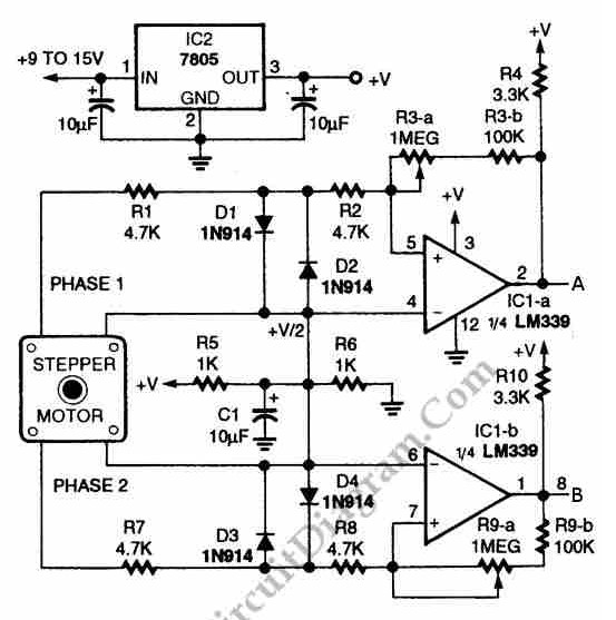 Digital Encoder Circuit diagram Using Stepper Motor under