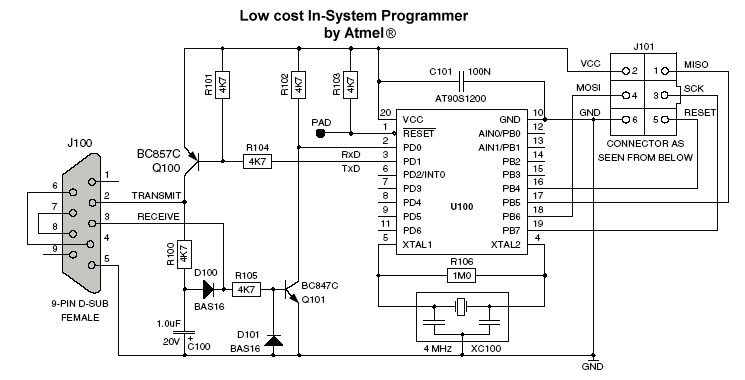 > circuits > AVR ISP programmer In System Programmer
