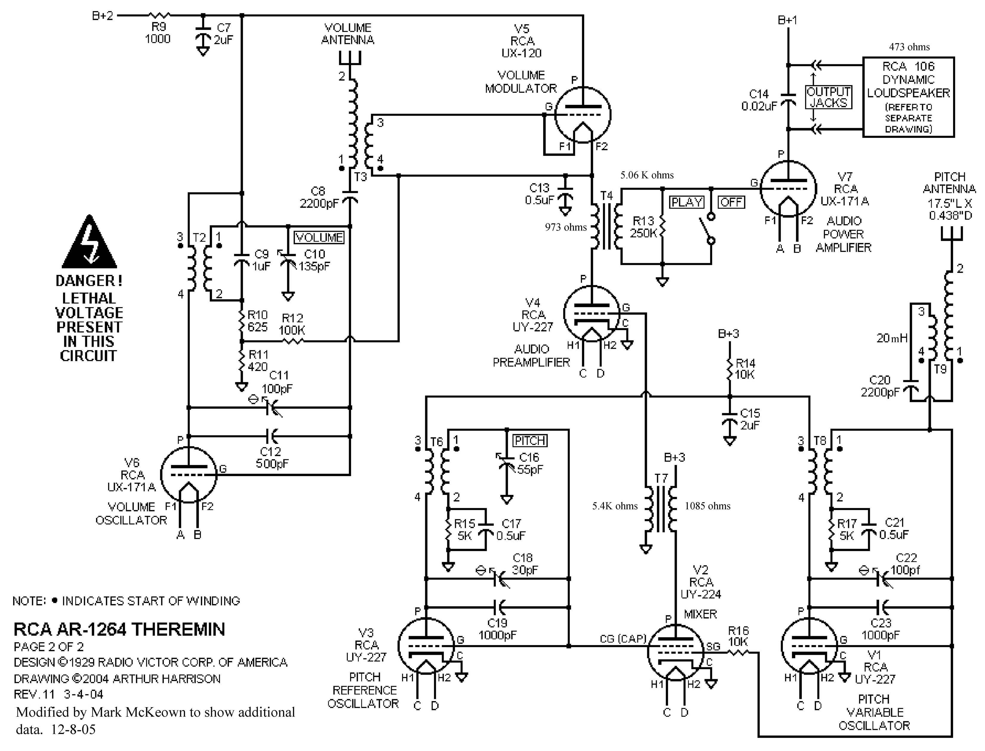clara rockmore tube theremin schematics