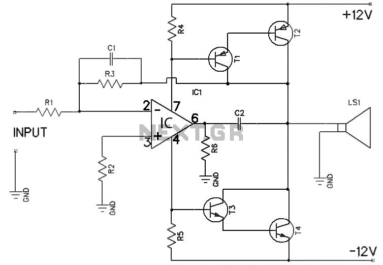Small 12V audio amplifier circuit under Repository