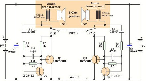 how to wire two amps together diagram arc 3700 switch panel wiring intercom circuit page 3 : telephone circuits :: next.gr