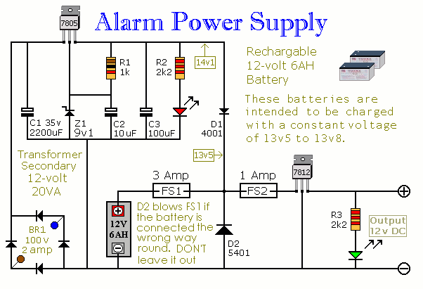 500w Grid Tie Solar Wiring Diagram Build This Simple Power Supply For Your Intruder Alarm Project