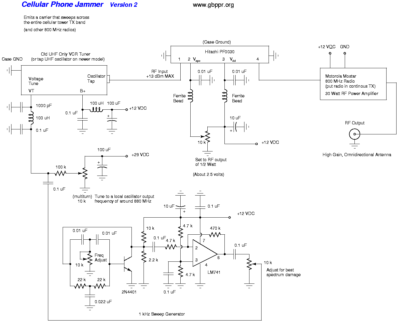 hight resolution of cell phone jammer schematic