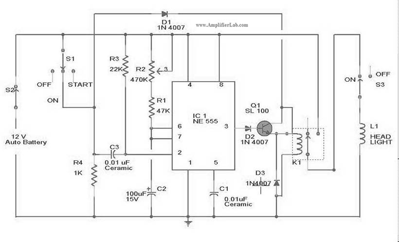 Automatic Car Head Lights Turn-off Circuit