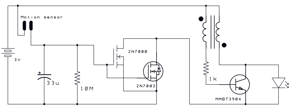medium resolution of motion activated joule thief circuit