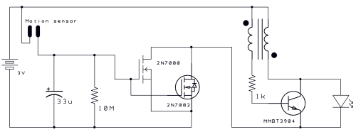 small resolution of motion activated joule thief circuit