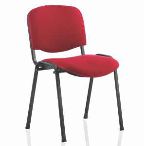 ISO Stacking Chair Wine Fabric Black Frame Without Arms