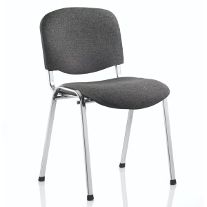 ISO Stacking Chair Charcoal Fabric Chrome Frame Without Arms