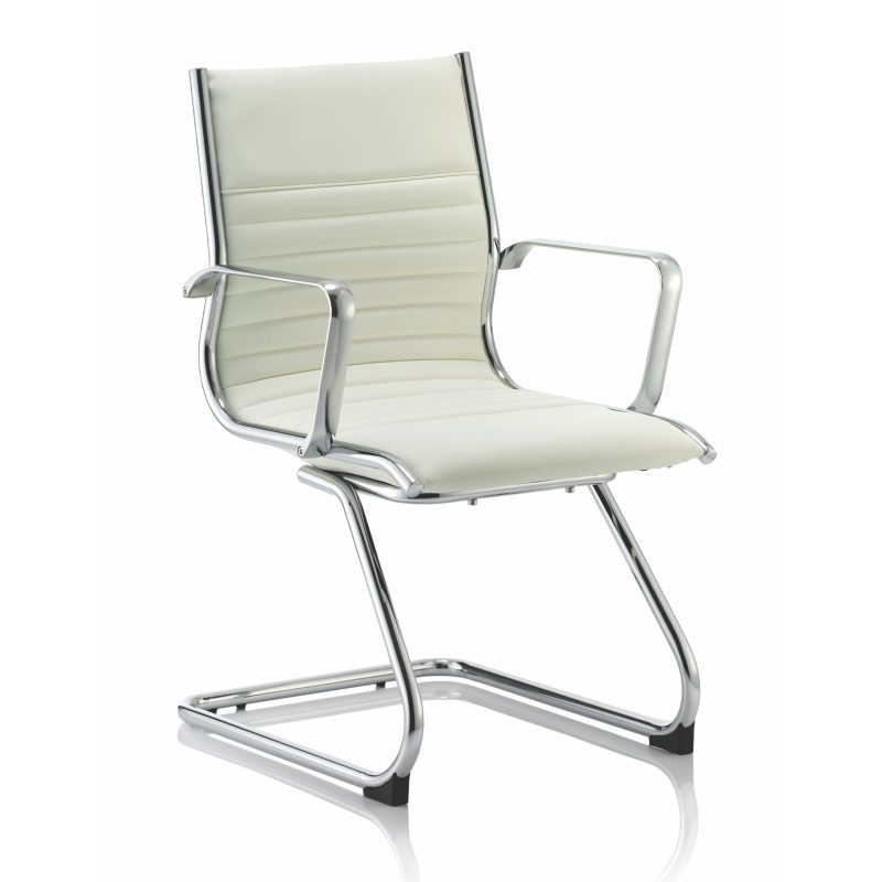 Ritz Cantilever Chair Ivory Bonded Leather With Arms