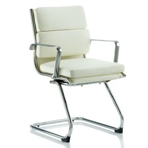 Savoy Cantilever Chair Ivory Bonded Leather With Arms