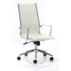Ritz Executive High Back Chair Ivory Bonded Leather With Arms