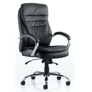 Romeo Executive Folding Chair Black Leather With Arms